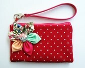 Red White Dot purse For Summer perfect for coin holding cash cell phone iphone blackberry