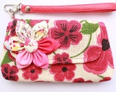 SALE Buy 3 Get 1 FREE- Red Flower Wristlet for cell phone coin iphone blackberry