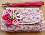 Lovely Wristlet Purse for cell phone coin iphone blackberry - XMAS SALE Buy 3 Get 1 FREE