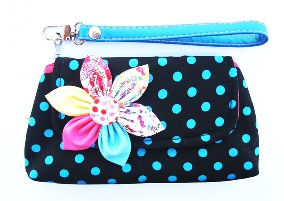 PROMOTION Buy 3 Get 1 FREE-Black Blue Wristlet Purse Case For Cell phone