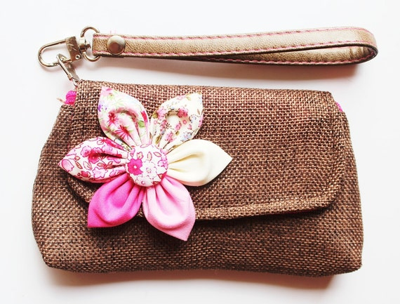 Brown wristlet for cell phone coin iphone blackberry PROMOTION Buy 3 Get 1 FREE