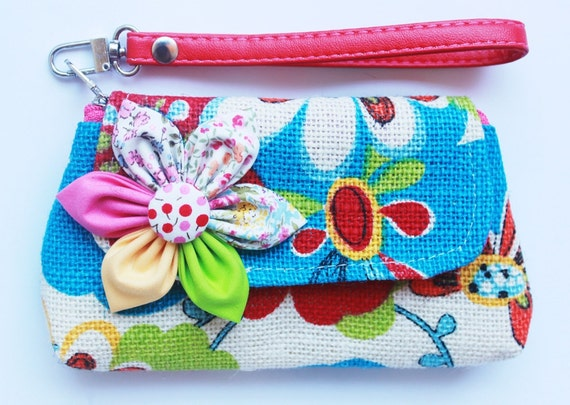 PROMOTION Buy 3 Get 1 FREE- Flower Wristlet for cell phone coin iphone blackberry
