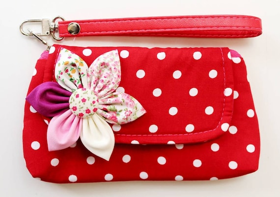 Red Polka Dot Wristlet Purse for cell phone coin iphone blackberry - SALE Buy 3 Get 1 FREE