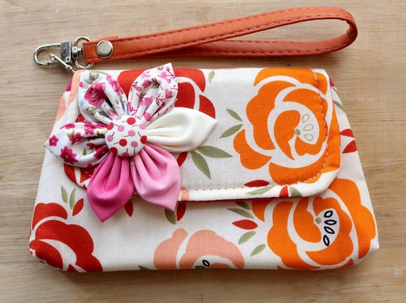 Orange Rose Wristlet Purse for Mobile phone coins iphone - SALE Buy 3 Get 1 FREE