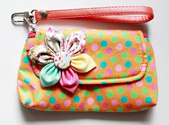 Orange Dot Wristlet Purse for cell phone coin iphone blackberry - Buy 3 Get 1 FREE