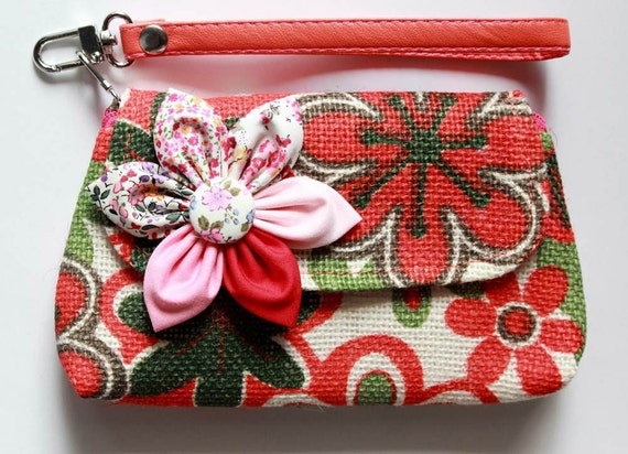 Orange Floral wristlet purse zipper wallet cell phone coins iPhone PROMOTION Buy 3 Get 1 FREE