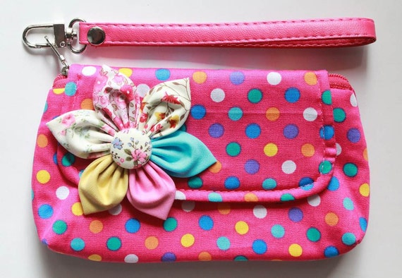 pink polka dot Wristlet Purse for cell phone coin iphone blackberry - Buy 3 Get 1 FREE