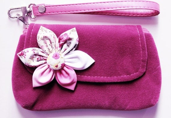 Purple Velvet iPhone purse wristlet purse zipper wallet  pencil purse  PROMOTION Buy 3 Get 1 FREE