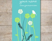 Business Cards - Custom Business Cards - Jewelry Cards - Earring Cards - Display Cards - Flowers with Bird - No. 64