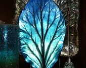 Winter blue ocean fade Concrete leaf castinfg handmade using a real bergenia leaf. One of a kind. 6.5 in x 10.  Shipping included