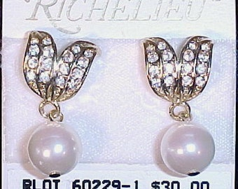Vintage RICHELIEU Pierced Pave Leaf and Faux Pearl Dangling Earrings