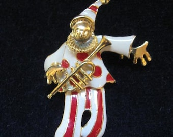 Vintage 1960's Moveable Enameled Clown Pin
