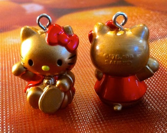 "Hello Kitty Charms ""Maneki Neko"" or ""Lucky Cat"", set of 2."