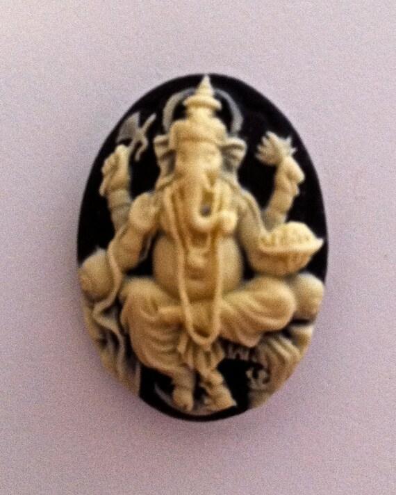 Ganesh Cameo 25x18mm, set of 4.  Ivory on Black
