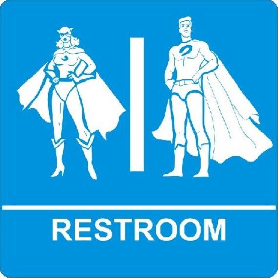 Superheros - restroom signage - plus two decals