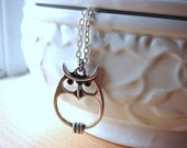 Groovy Owl, Necklace, Antiqued Silver Chain, Detailed Whimsy Owl Pendant, Gift for Girls, Bird Necklace