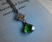 ON SALE - Moss Embryo - Necklace - A Wire Wrapped Moss Green Quartz Pendant - Handmade Keepsake Jewelry