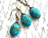 ON SALE - Gift Set - Mosaic Turquoise Earrings and Necklace Set - Antiqued Brass Chain
