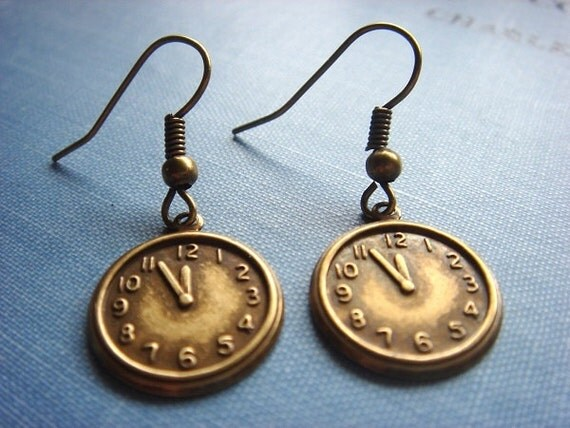 The Time Traveler's Wife, Earrings, Vintage Inspired, Adorable Antiqued Brass Clock Charms, Handmade Keepsake Jewelry by HoneyNest