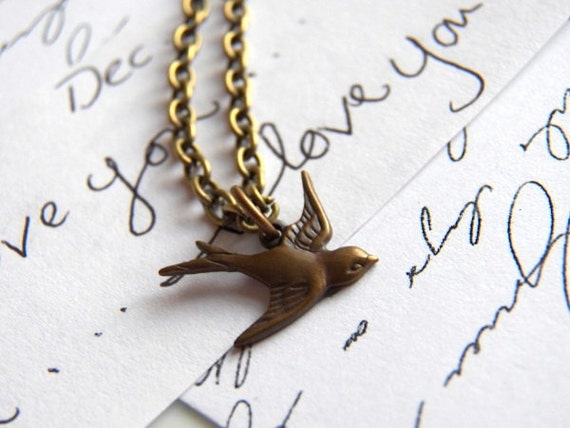 Along Came A Sparrow - Sweet Bird Pendant - Necklace, Vintage Inspired Charm - Beloved Keepsake Jewelry