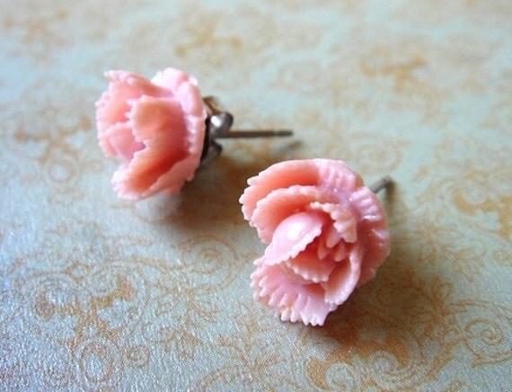 ON SALE - Stud Earrings, Light Pink Rose Bud, Flower, Surgical Steel Posts, Vintage Inspired - Ruffled Rosebud - Peony
