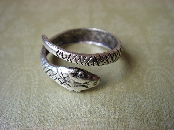 ON SALE - Serpent Snake - Adjustable Antiqued Sterling Silver Plated Ring - Keepsake Jewelry