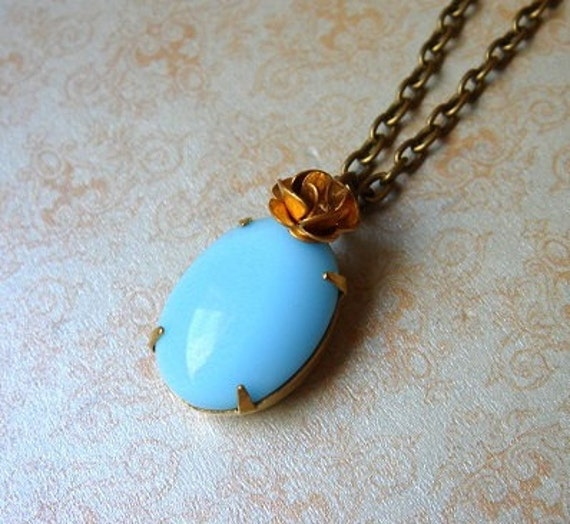 Sweet Bella Rose - Necklace - Vintage Opaque Glass Pendant - Brass Vintage Rose Charm - Keepsake Jewelry