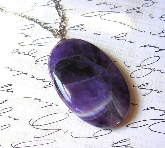 Amethyst - Necklace - Large Oval Amethyst Gemstone - Wire Wrapped - Antiqued Silver Plated Chain