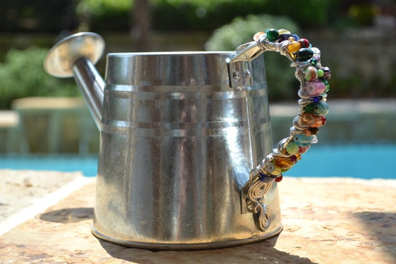 Watering Can, Tin Watering Can, Water Pitcher, Flower Vase, Garden Decor, Beaded