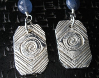 Silver and Saphire Earrings