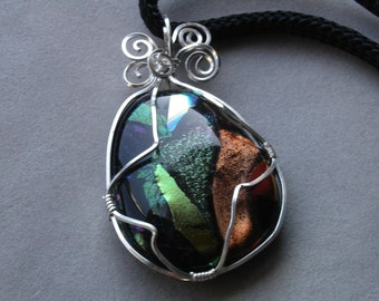 30% off - Fused Glass Wire Wrapped Pendant