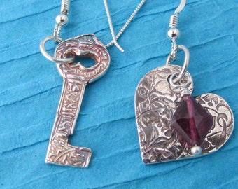Valentine Key to My Heart  Silver Earrings - Valentines Discount