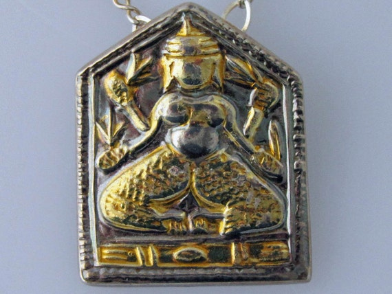 Indian God Pendant in Gold and Silver