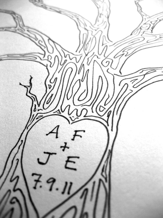 LARGE Wedding Tree Guest Book Customizable Original Drawing Thumbprint Tree BLACK ink