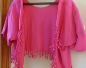 Bolero Shrug Shabby Chic Sliced Knotted and Beaded T Shirt Jacket  Shown  here  in Adult  Hot Pink with Hot Pink Beads-Youth sizes available
