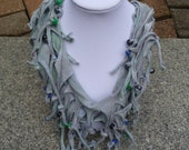 Shabby Chic Sliced Knotted and Beaded Cowl T Shirt Scarf  Shown here in Hand Painted Pattern Faded Peacock