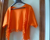 Shabby Chic Sliced Knotted and Beaded Bolero T Shirt Jacket Orange With Orange beads Limited Edition