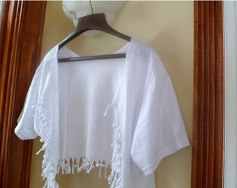 Shabby Chic Sliced Knotted and Beaded Bolero T Shirt Jacket Many Colors Available Shown Here in White with White and White Pearl Beads