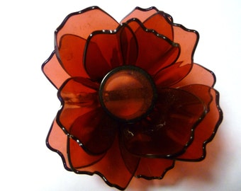 Cranberry  Upcycled Flower Pin