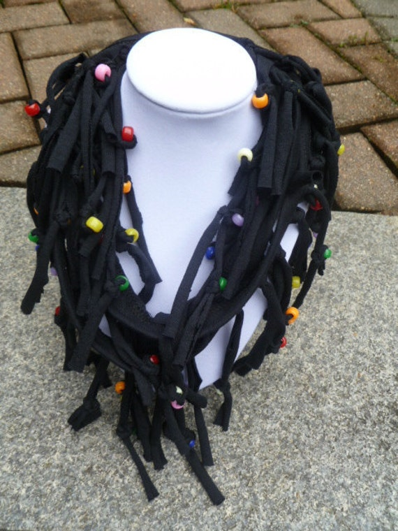 Shabby Chic Sliced Knotted and Beaded Cowl T Shirt Scarf  Shown here in Black with Beads in Rainbow Assortment