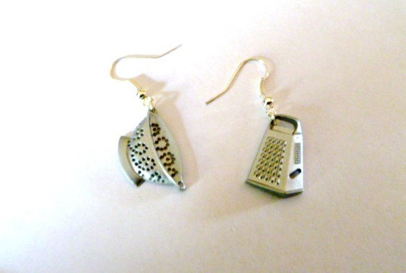 Earrings-Mix and Match Collection-Chef Special Colander and Cheese Grater Dangles