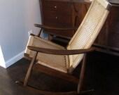 ON HOLD. Mid Century Danish Modern Wegner Era Rope Rocking Chair