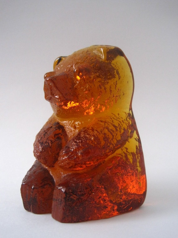 Vintage 1960s Amber Glass Bear Bookend By Blenko By Rhanvintage