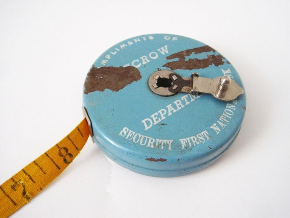 Vintage Tape Measure in Metal Can Fabric Tape