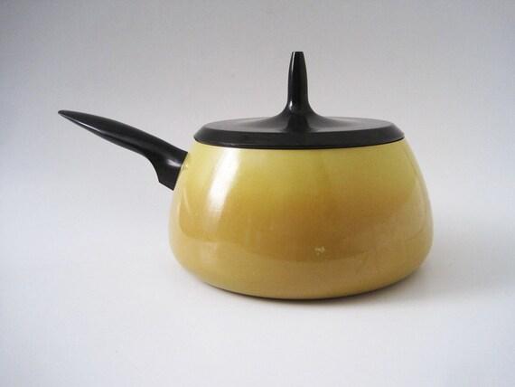 RESERVED. Vintage Atomic Age Yellow Enamel Saucepan