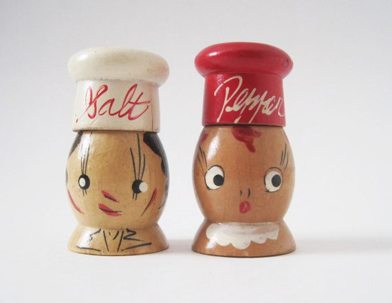 Vintage Man and Woman Wooden Salt and Pepper Shakers Japan