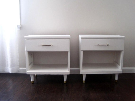 Mid Century Modern White Nightstand Side Tables