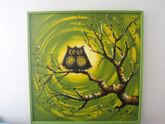 RESERVED. Mid Century Modern Large Owl Painting Signed by Artitst C. Roberts