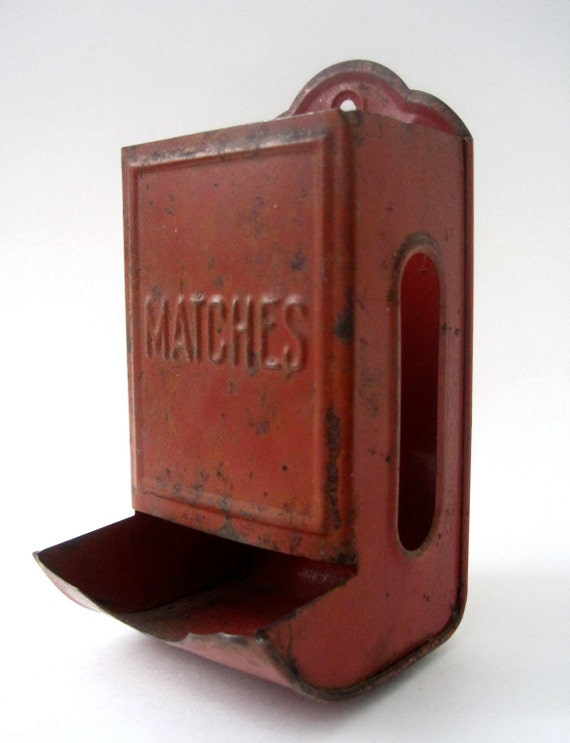Antique 1940s Metal Tin Match Stick Holder Red