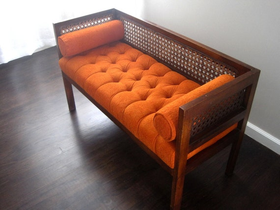 Vintage Retro Orange Upholstered Bench